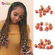 30pcs/bag 17mm Wood Hair Beads 8mm big Hole Dreadlock Beads for Jumbo Braid Dreadlock Hair Accessories