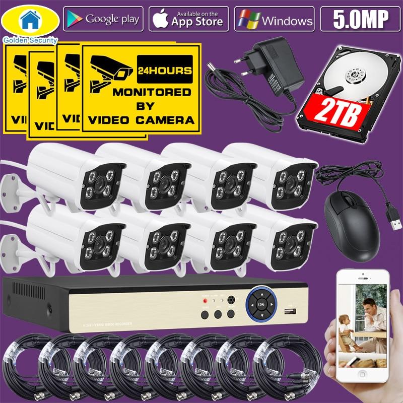 Золотой безопасности 8CH DVR Kit реальные 5.0MP HD CCTV AHD Камера наблюдения 1080P HDMI видео безопасности Камера Системы видео кабель 2 ТБ