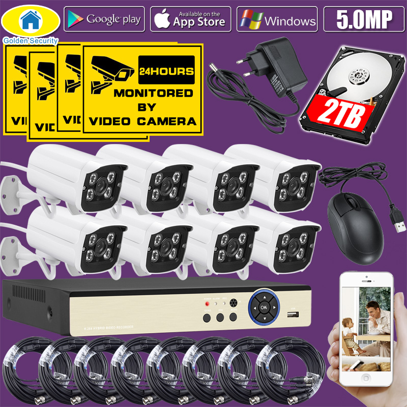 Golden Security 8CH DVR Kit Réel 5.0MP HD CCTV AHD Caméra Surveillance 1080 p HDMI Vidéo Système De Caméra De Sécurité Vidéo câble 2 tb