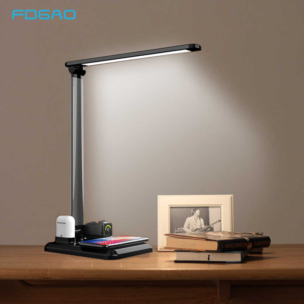 FDGAO Desk LED Lamp Light 10W Qi Wireless Charger for iPhone XS XR X 8 Apple Watch 4 Airpods USB Fast for Samsung S10 S9 Xiaomi