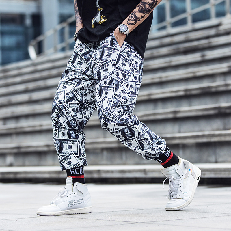 Hip Hop Men Clothes 2018 Tide  Pants Couples Loose Casual Streetwear Sweatpants Pantalon Homme Jooger Printed Dollar Trousers Детская кроватка