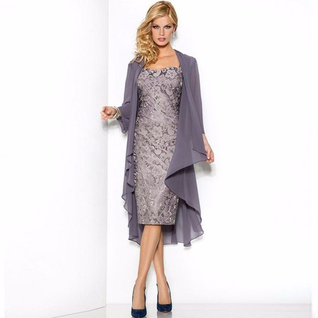 Sheath Mother Of The Bride Dress Lace Knee Length With Jacket Coat Formal For Mom