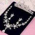 Moda de luxo de prata Banhado Jóias Conjuntos de Colar E Brincos de Cristal Austríaco Colar de Pingente de Vidro Definido Para As Mulheres de Casamento