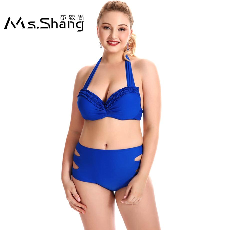 Ms.Shang Solid High Waist Bikini Black Swimwear Women Push-Up Swimsuit Female Plus Size Swimwear 2018 Halter Top Bikinis Set 6XL solid gray blue sexy push up bikini set strappy thong women swimsuit low waist female swimwear 2017 beachwear halter bikinis