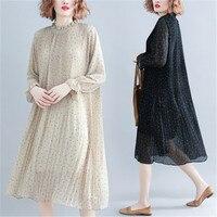 2019 new super large size women's dress spring dress belly chiffon dress w182