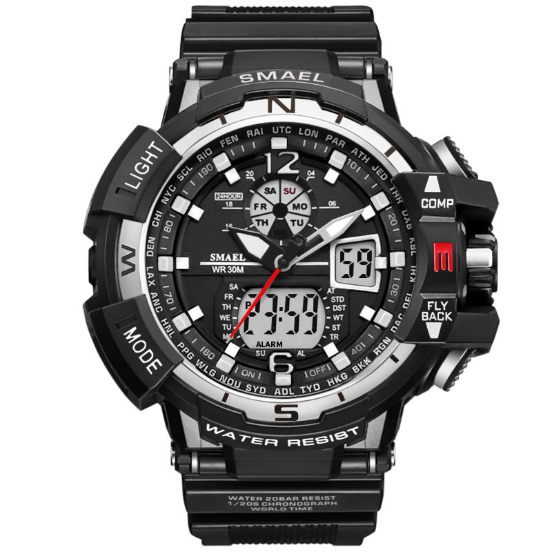 New Smael Watch Men Sports Watches Dual Display LED Digital Analog Quartz Watches Fashion Military Watches Men reloj hombre 2020