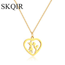 SKQIR Romantic Heart Shape Kiss Lover Couple Pendant Necklaces For Women Jewelry Long Sweater Chains Gold/Rose Stainless Steel