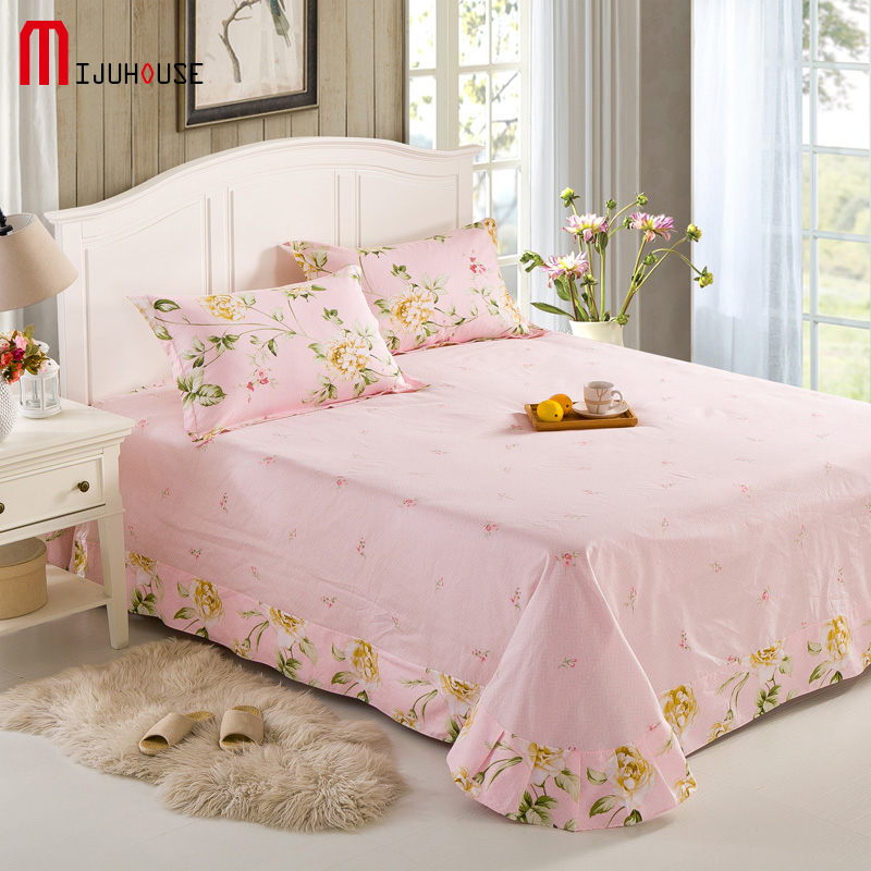 fashion new reactive printing 100 cotton bed sheet 240x270cm plant image european style bed sheets free shipping