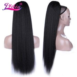 Image 1 - Термостойкие синтетические прямые волосы Лидия, 30 дюймов, с двумя пластиковыми гребнями для наращивания хвостиков, доступны все цвета