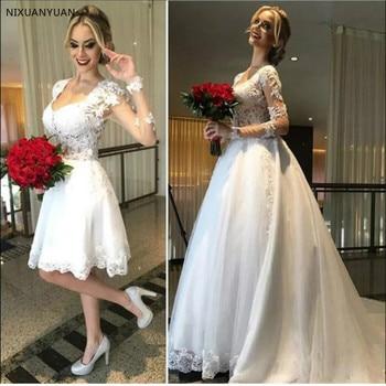 2020 Ball Gown 2 In 1 Wedding Dresses Detachable Train Lace Appliques Pearls Bridal Gowns Vestido De Novias Robe De Mariee