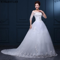 New Arrival Lace Ball Gown Wedding Dresses 2017 Plus Size Bridal Wedding Dress Real Photo Free