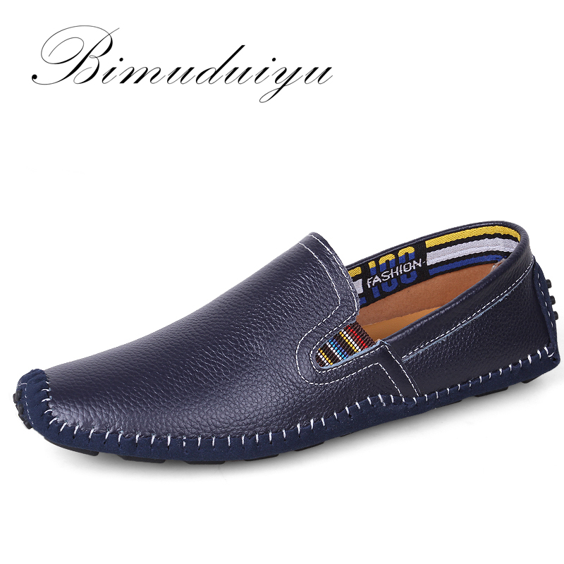 BIMUDUIYU Light Super Soft Hot Sale Lazy Flat Shoes Genuine Leather Plus Size Breathable Casual Driving Handmade Shoes For Men