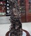 Китай бронзовый медный мальчик Кван Инь Гуань Инь Бодхисаттва цветок лотоса Статуя Дракона