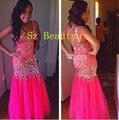 Espumante Cristal Africano Sleevelesss Sereia Prom Vestidos Backless 2017 Mulheres Longo Hot Pink Tulle Vestido de Festa Vestido de Noite