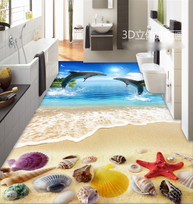 3 d pvc flooring custom wall wticker 3d bathroom flooring 3 d dolphin beach shell starfish painting photo wallpaper for walls 3d lace shell starfish beach anklets
