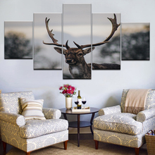5 Panels Deer Canvas Prints Painting Elk Animal Wall Art Frame Picture Modules Poster For Living Room Decor Artwork