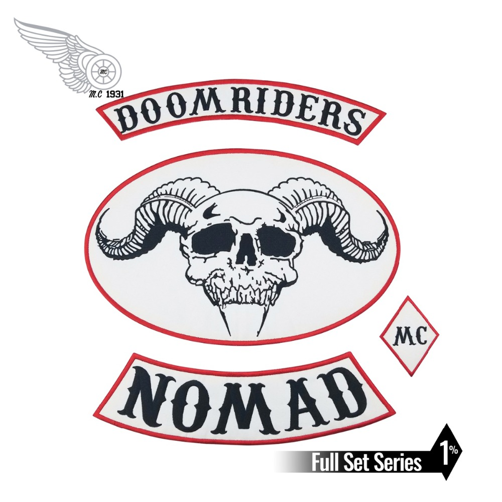 4PCS/SET OUTLAW DOOMRIDERS BIKER <font><b>MC</b></font> COLORS <font><b>1</b></font>%er <font><b>PATCH</b></font> - VINTAGE REAL ORIGINAL MOTORCYCLE CLUB VEST SEWING DIY Apparel image