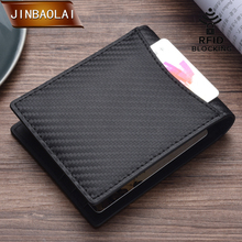 цена на JINBAOLAI Slim Wallet with Money Clip Men RFID Blocking Mini Bifold Men ID Credit Card Genuine Leather Money Wallet Clip