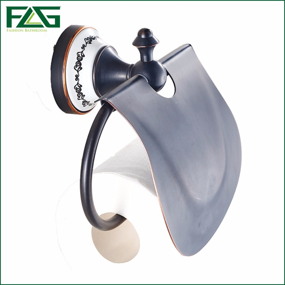 ФОТО FLG Top Sale Cheap Price Hot Tissue Holder With Cover Oil Rubbed White Painted Flower Porcelain  Brass Toilet Paper Holder 60107