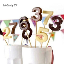 hot deal buy mac  numbers lollipop mold diy bakeware tool silicone 3d handmade pop sucker sticks lolly candy chocolate mold with sticks shape
