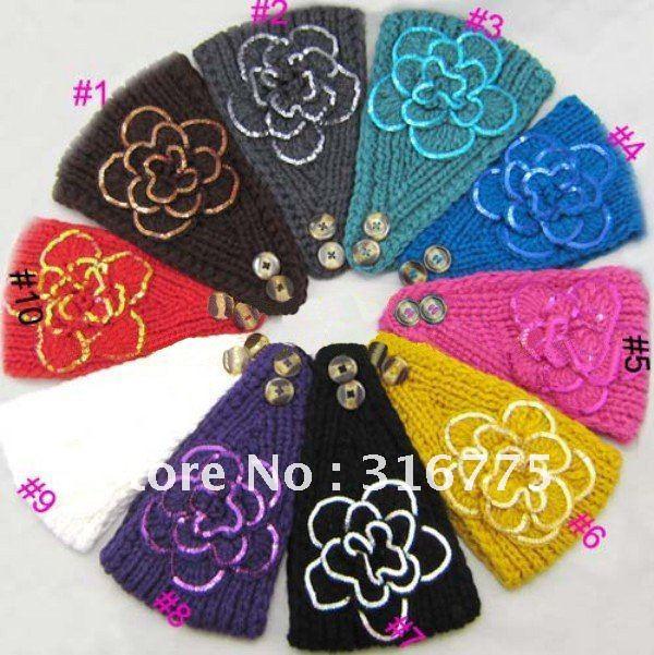 Free Shipping Women New Knitted Sequins Flower Headband Crochet Ear