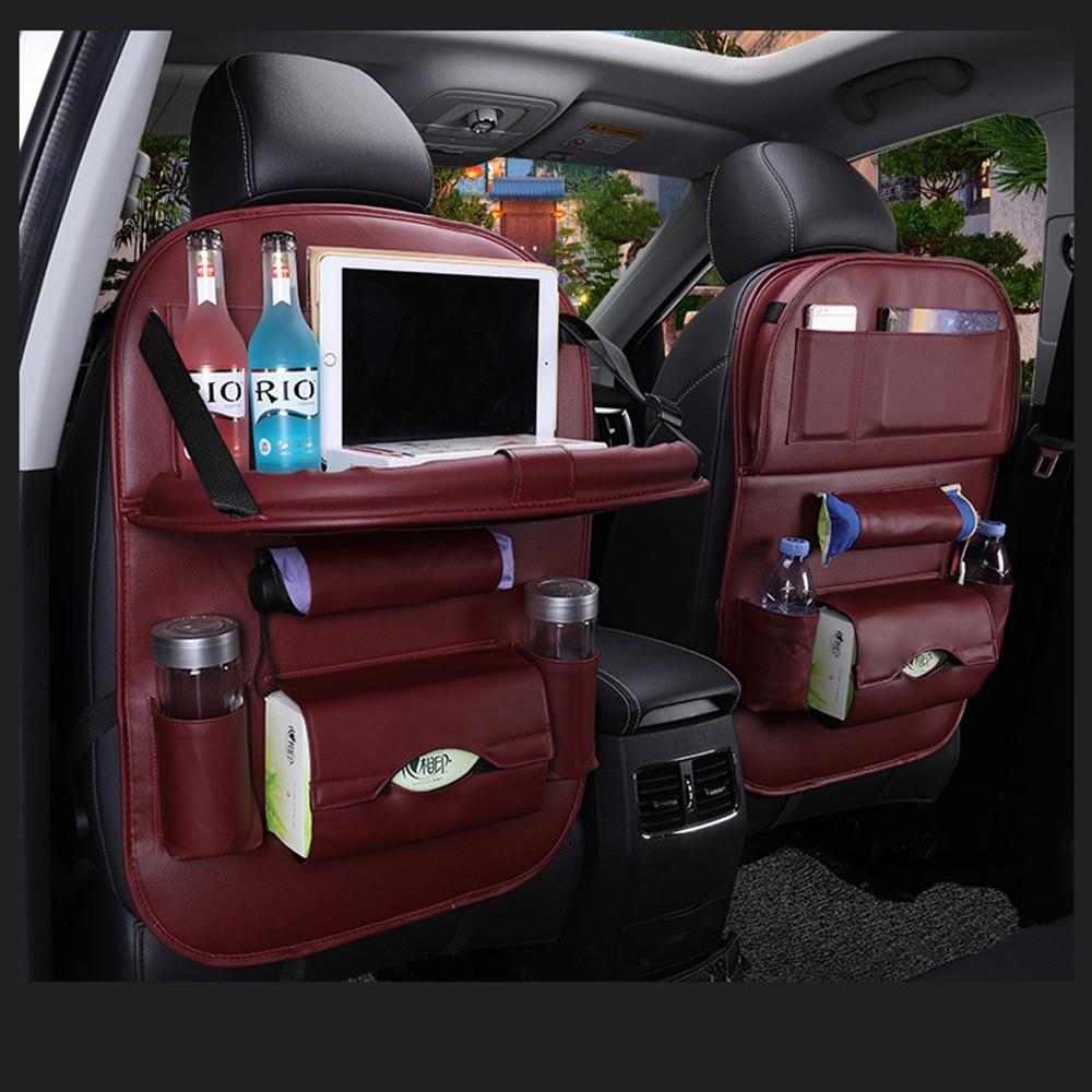 Bolso de cuero de la Pu del asiento trasero del coche organizador plegable de la bandeja de la Mesa de viaje bolsa de almacenamiento plegable del asiento del coche de la mesa de comedor bolsa