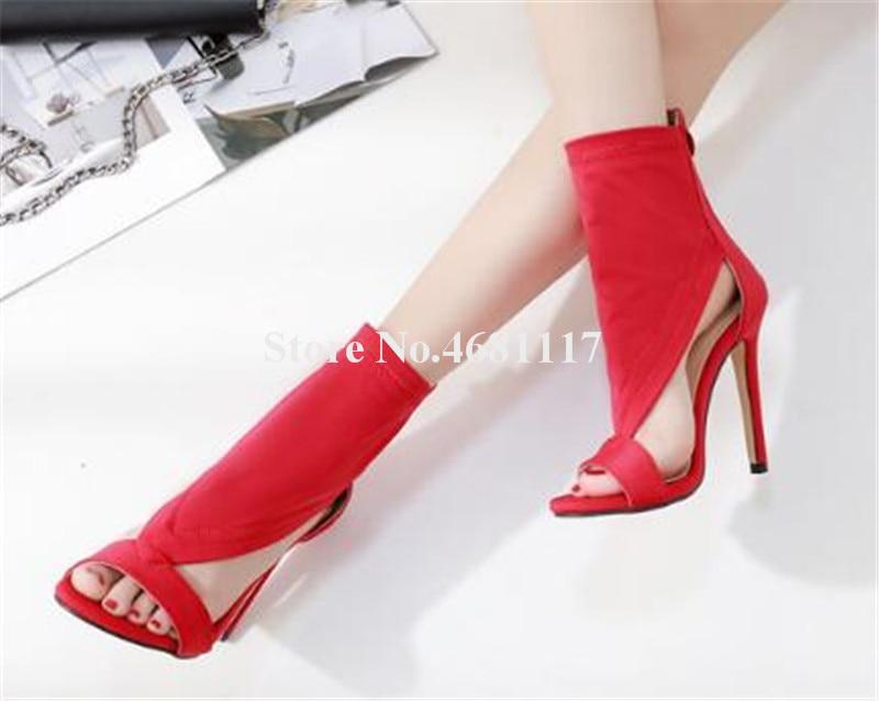 Femmes Rouge Picture Hauts Picture D'été Noir Nouvelle Daim as En As Talons out Mince Mode Bout Cuir Talon Spartiates Ouvert Sandales Chaussures À Club Cut q6qUFSrw