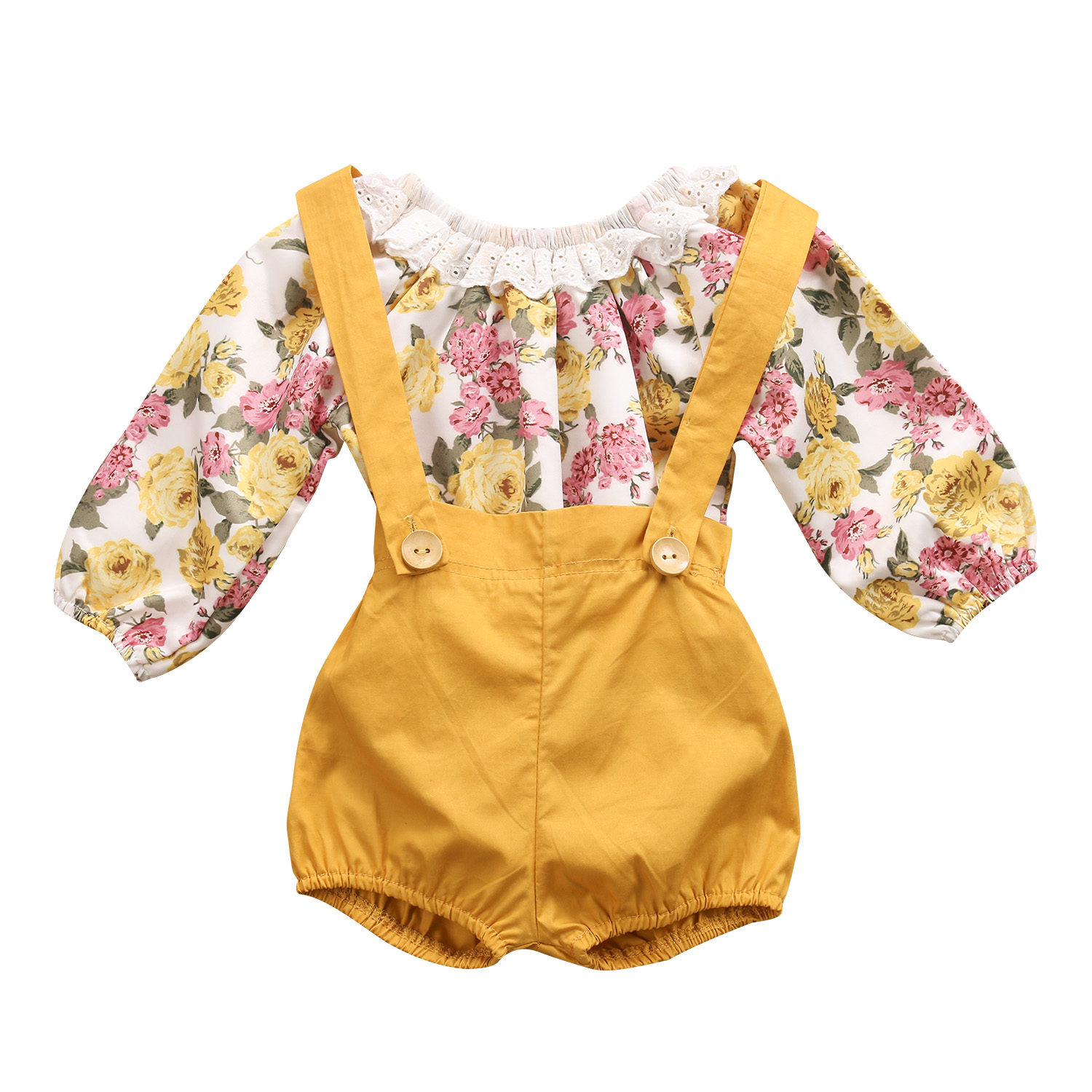 Summer Baby Girl Floral Outfits Clothes Newborn Kids Girls Princess Lace Rompers+Shorts Sunsuit Clothes Set Long Sleeve Clothing 0 24m floral baby girl clothes set 2017 summer sleeveless ruffles crop tops baby bloomers shorts 2pcs outfits children sunsuit
