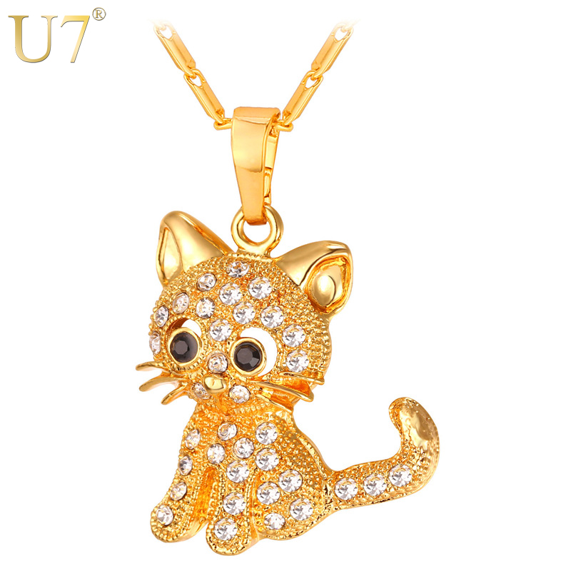 U7 Cute Cat Pendants & Chain Gold/Silver/Rose Color Rhinestone Crystal Hot Animal Necklaces Women Jewelry for Girls Gifts P1027