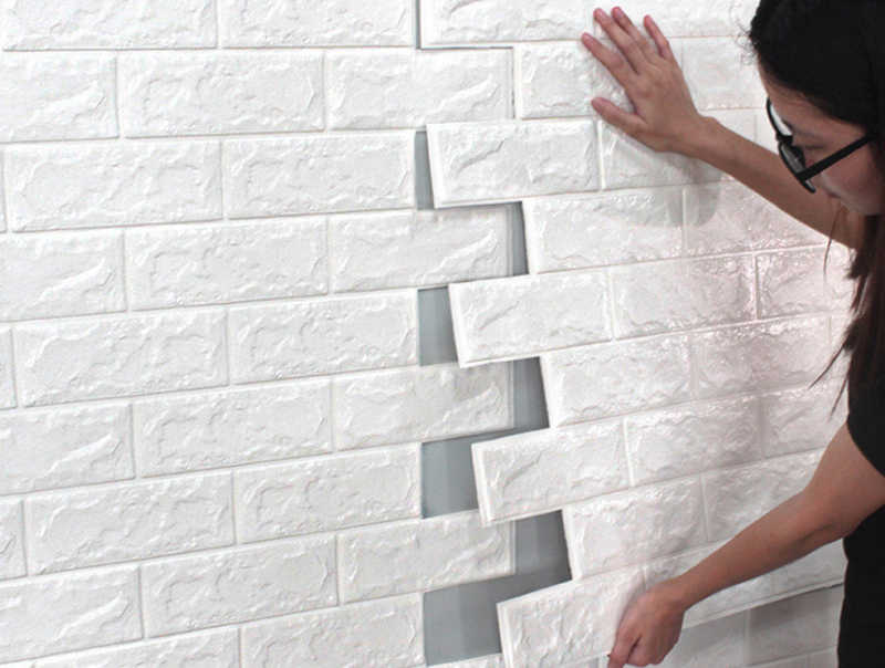 DIY الذاتي في Adhensive 3D الطوب ملصقات جدار ، غرفة المعيشة ديكور رغوة للماء تغطي الجدار ل خلفية التلفزيون غرفة الاطفال