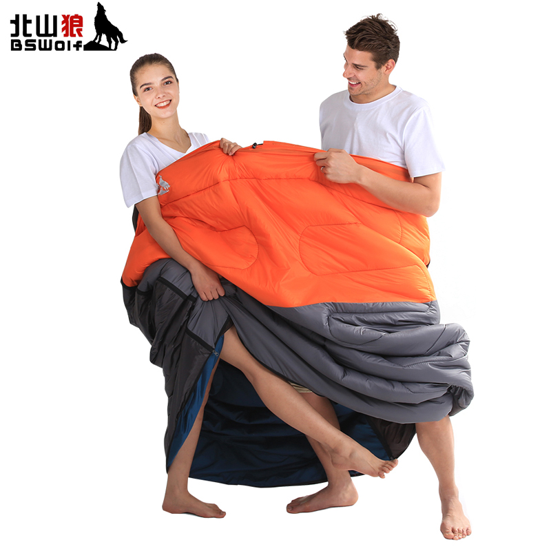 BSWolf Envelope Camping Sleeping Bag Waterproof Keep Warm Double Adult Sleeping Bag For Camping Travel Polyester Fiber 210*145cm kingcamp favourer 450mix envelope 32 degree f 0 degree c down spliced micro fiber sleeping bag with hood for camping
