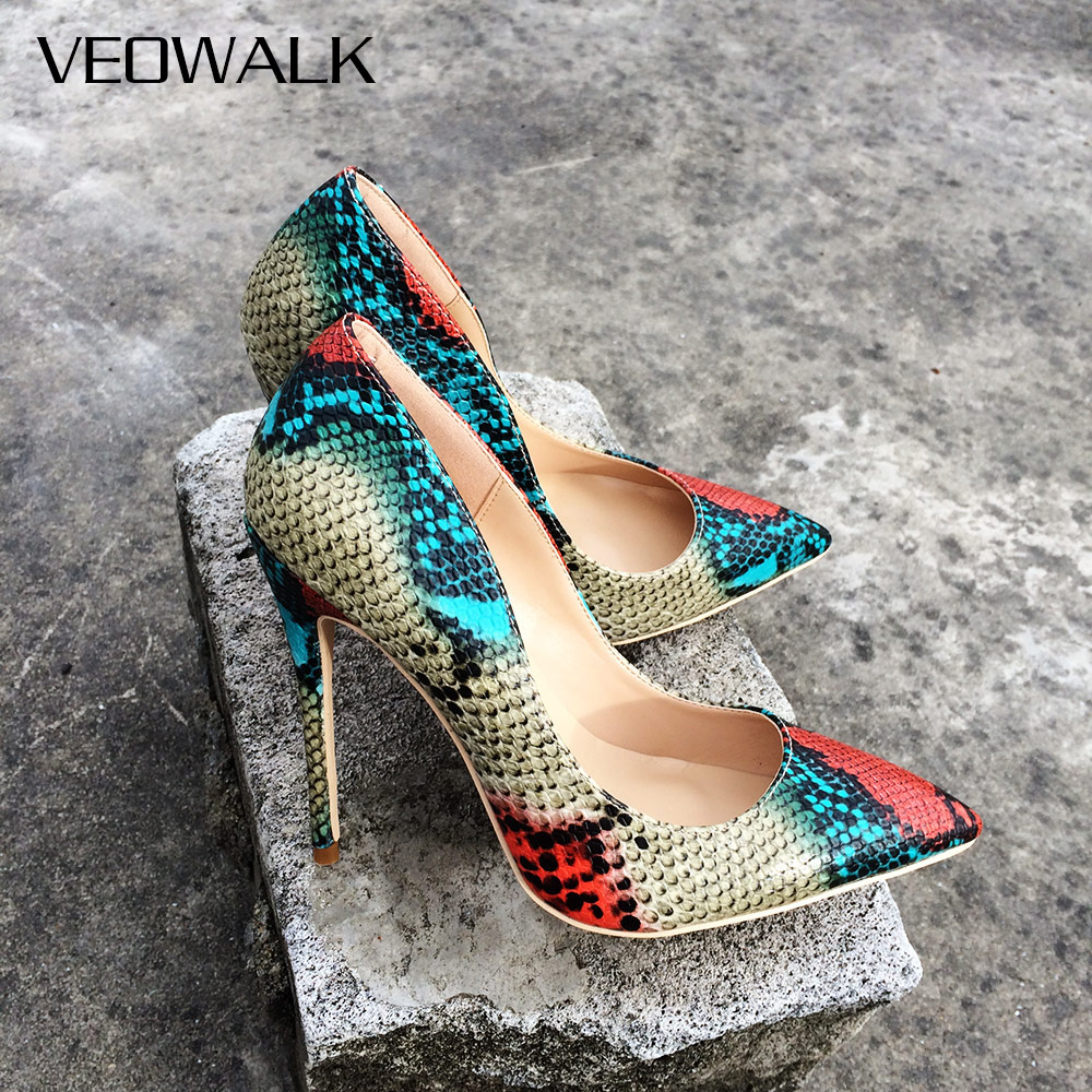 Veowalk Snake Patern 12/10/8cm Women's Extreme High Heels Sexy Pointed Toe Ladies Stiletto Pumps Party Wedding Heeled Shoes