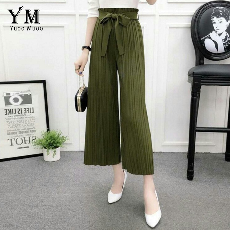 YuooMuoo Women Vintage Chiffon Summer and Autumn   Pant   High Waist Loose Elastic Waist Casual Solid Ankle-Length   Wide     Leg     Pants