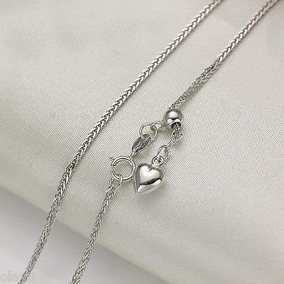 Solid 18K White Gold Necklace Wheat Chain  Women's Heart Chain 3-3.5g - 20inchL