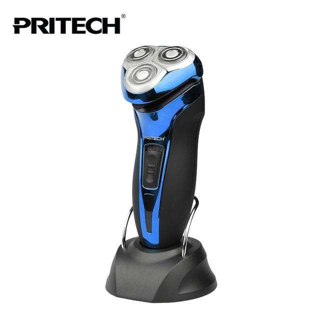 Nueva PRITECH Marca Recargable Afeitadora Eléctrica Barba máquina de Afeitar  Recargable hombres 3d Cabeza Impermeable máquina 30bc03ad2473
