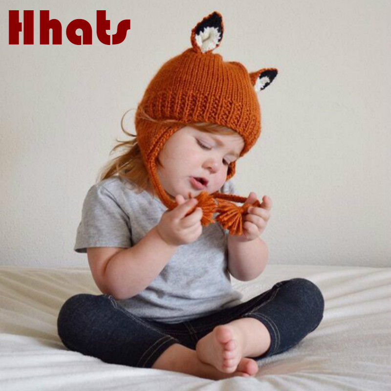 children cat ear winter   beanie   cartoon knitted bomber hat winter outdoor warm ear flat   skullies     beanie   girl cap drop shipping