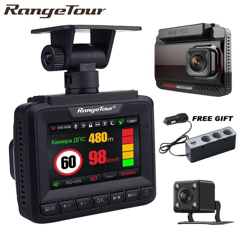 2018 Car DVR Radar Detector GPS 3 in 1 Video Recorder Camera Full HD 1296P Car Recorder Registrar Anti Radar Speedcam for Russia