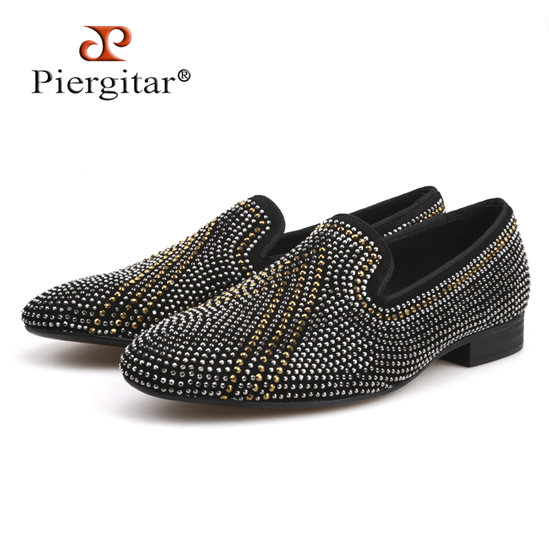 Men Shoes Suede-Loafers Rhinestone Flats Men's Luxury Brands New Three-Color Mixed Handmade