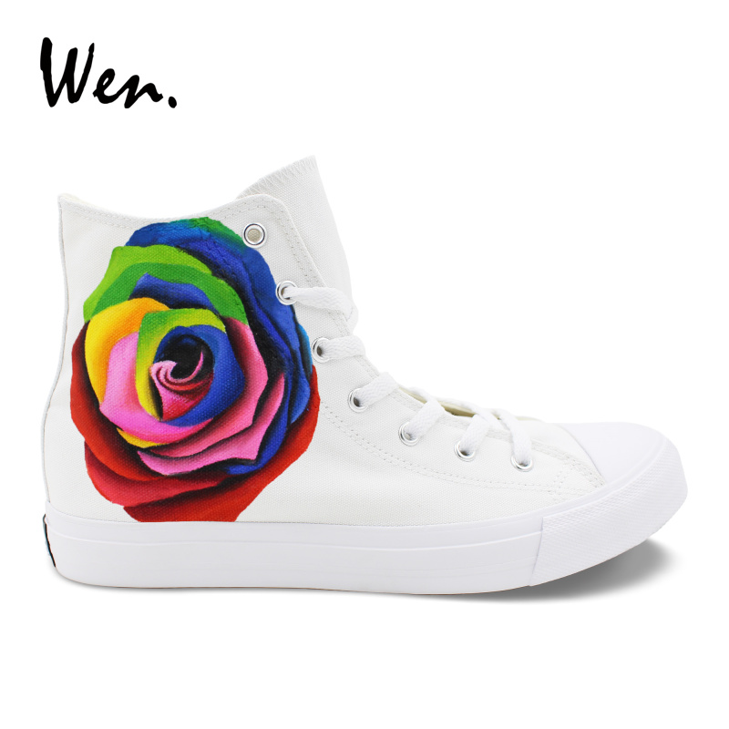 Wen Original Design Custom Hand Painted Floral Shoes Colorful Rose Flower High Top Women Girls Canvas Valentines SneakersWen Original Design Custom Hand Painted Floral Shoes Colorful Rose Flower High Top Women Girls Canvas Valentines Sneakers