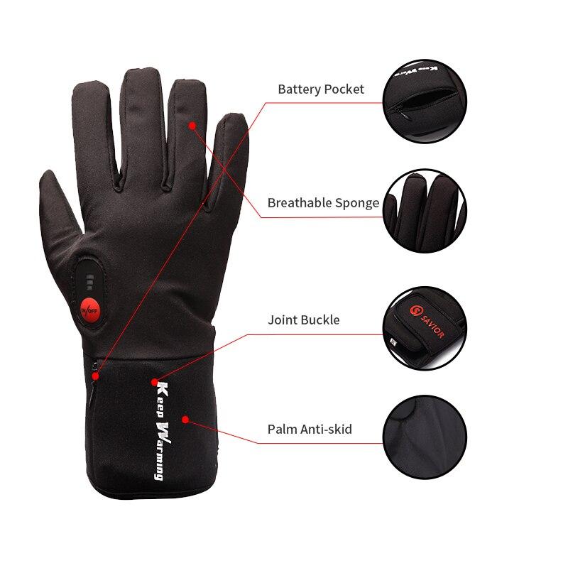 Спаситель зимние теплые перчатки для мужчин и женщин езда 7,4 V электрические перчатки велосипед Спорт на открытом воздухе перчатки с подогревом - 3