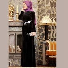 Long Sleeve Black Velvet Hijab Muslim Evening Dress Elegant Formal Party Gown with Crystals robe de soiree
