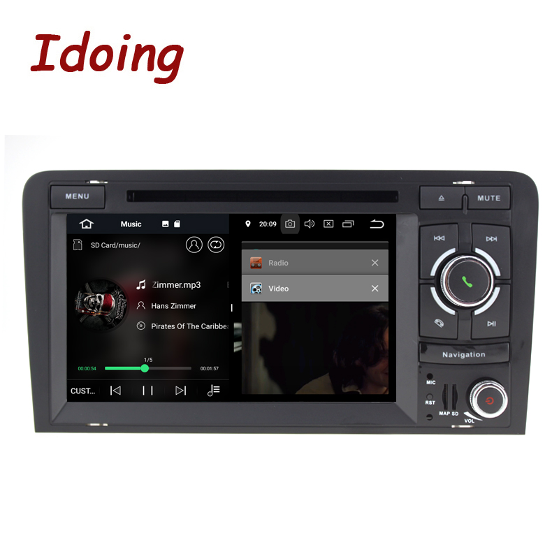 Idoing 72Din Car Android 8.0 Radio DVD Multimedia Player For Audi A3 2003 2011 PX5 4GB+32G Eight Core IPS screen GPS Navigation