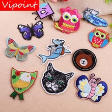 VIPOINT embroidery owl buttlefly patches animal badges applique for clothing YX-164