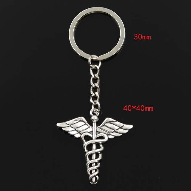Fashion 30mm Key Ring Metal Key Chain Keychain Jewelry Antique Silver Bronze Plated caduceus medical symbol md 40x40mm Pendant 1