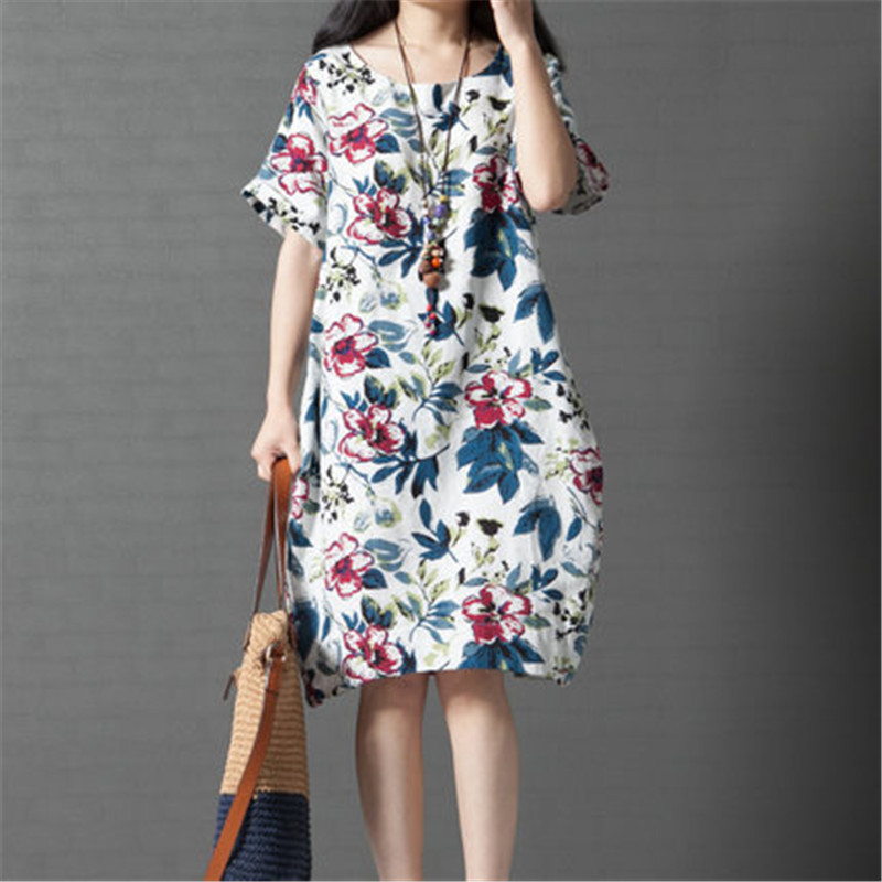 4e9f807fc3e Maternity Clothes for Pregnant Women New 2017 Summer Large Size Dress Big  Flower O-neck Cotton Linen Pregnancy Dresses YFQ016