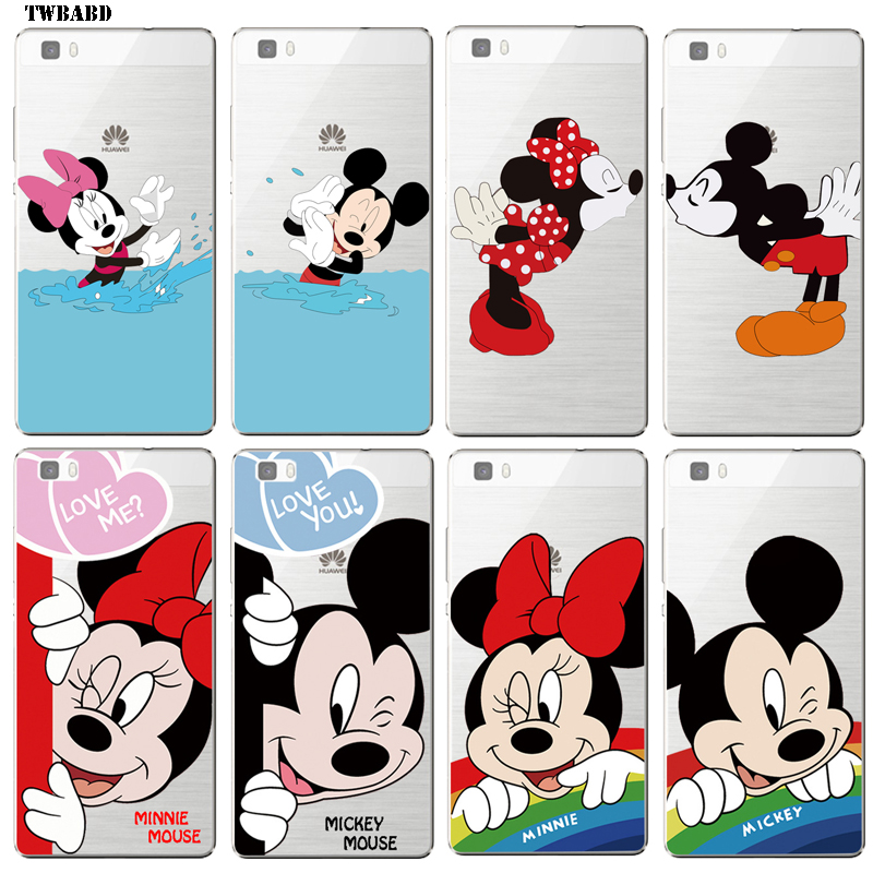 Cute Couple Mickey Minnie Mouse Soft TPU Back Cover Skin for Huawei P10 Donald Duck David case for Huawei P10