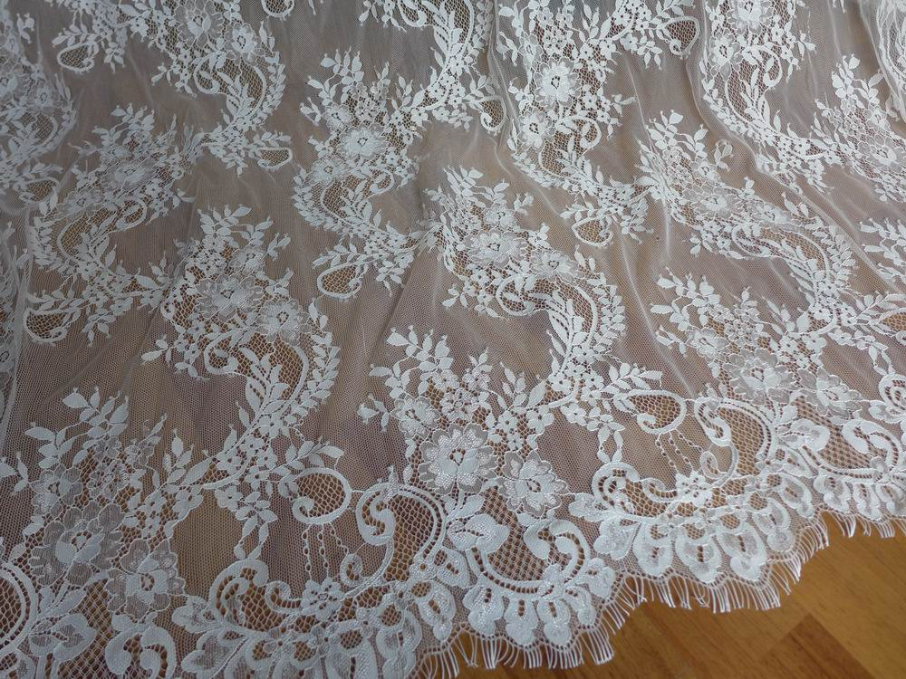 Chantilly fabric unique white wedding dress lace fabric for French lace fabric for wedding dresses