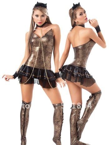 women cosplay costumes kits vintage leopard racerback cat girls dress halloween dress up - Halloween Girl Dress Up