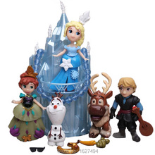 Snow Queen Elsa Anna Princesa Muñecas Estatua PVC Figuras de Acción Palacio de hielo Trono Olaf Anime Figuras Castillo Juego de Niños juguetes