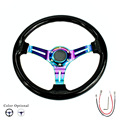 New arrival universal 350mm 14inch black /white classic ABS car sport steering wheel with neo chrome spokes